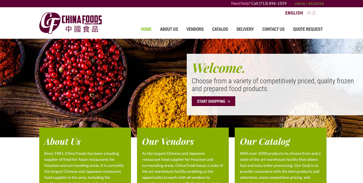 Website Design Launch for China Foods