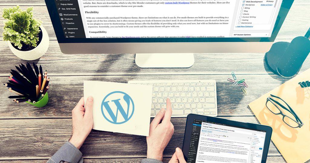 Wordpress themes: custom versus pre-made.
